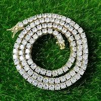 16 18 20 22 24 pollici di 4mm ha ghiacciato fuori catene collane fow uomini donne dal design di lusso bling argento collana di diamanti in oro gioielli catena di tennis