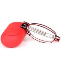 Frauen falten lesebrille edelstahl metall optische gläser mode anti-müdigkeit einstellbar frauen brillen fall