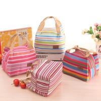 Listradas sacos almoço isolados térmica Stripe Tote Bags Campus Picnic lunch sacos de comida Caixa de armazenamento Mulheres Estudantes Tote ZZA1855