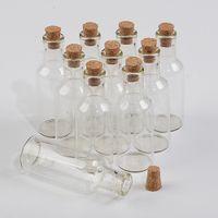 15ml Commercio all'ingrosso Mini trasparenti bottiglie vasi di vetro con tappo di sughero chiaro che desidera le bottiglie regalo 50pcs / lot