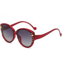 2020 نساء الجديد مصمم luxtury جولة الإطار النحل نظارات معدنية ذهبية إطار UV 400 خمر زجاج أحد ظلال Oculos