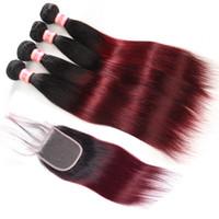 Ombre бразильские прямые пучки волос с закрытием 1b/99j Ombre бордовый бразильский прямые человеческие волосы плетение 3 пучки с закрытием