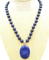 """Regalo delle donne parola amore reale bella 10mm blu lapislazzuli perline 30x40mm collana pendente 18 """"gioielli in argento WW"""