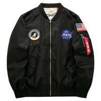 Men Bomber Jackets Outerwear Military Flight Jacket NASA Coa...