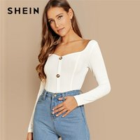 SHEIN White Office Lady Button Front Ribbed Knit Deep V Neck...