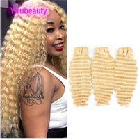 Перуанские волосы девственницы 613 # блонд Цвета Deep Wave 3 Связка человеческих волос Deep вьющихся 613 # Двойных утками 95-100g / шт