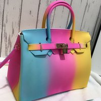 Fashion colorful jelly bag hit color women' s portable j...
