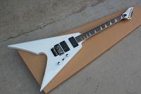Classica doppia freccia rock chitarra elettrica, corpo bianco e EMG Pickup, Collo Sandwich, Chrome fissaggi e speciale Fret Inlay, può essere personalizzato