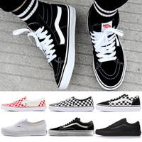 57b403d563 Vans Designer Old Skool Authentic Mens Women Skateboard Canvas Sneakers  Triple Black White Checkerboard Trainer Skate Casual Shoes 36-44