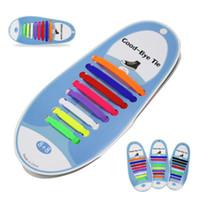 Ücretsiz Tie Spor Casual Renkli Silikon Shoelace Elastik Silikon ayakabı Karton Ambalaj Erkekler Kadınlar Hayır Tie Shoestrings