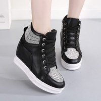 Swyivy Chaussures فام الأبيض أحذية امرأة عالية أعلى النساء أحذية رياضية 2019 أزياء أسافين الأحذية للنساء منصة السيدات الحذاء