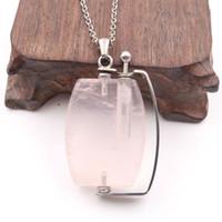 5 قطع الفولاذ المقاوم للصدأ ربط سلسلة neclace هندسية قلادة الصخرة كريستال زجاجة النفط الأساسية للنساء أنيقة مجوهرات