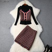 Mulheres Vintage Camisola Saia Terno Ocasional Das Mulheres de Malha Mini Saias Ternos Das Senhoras 3 Peça Set Mulheres Tops Com Colete De Tweed E Saia