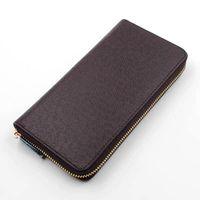 Großhandel Top-Qualität Männer Brieftasche aus echtem Leder klassischen Standard Mode Leder langen Geldbeutel moneybag Mäppchen Geldbörse Kartenhalter
