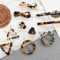 Geometrica Leopard Acrilico Bowknot Heart Circle Triangle Hairgrips per le donne Moda Vintage Forcine Geometric Hair Clips