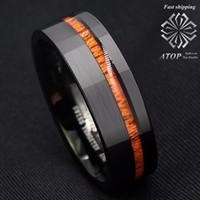 8mm Czarny Szczotkowany Węglik Tungsten Pierścionek Off Centre Koa Wood Wedding Band Ring J190707