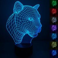 3D Leopard Notte Light Touch Table Desk Optical Illusion Lampade Colore 7 che cambia le luci della decorazione della casa natale del regalo di compleanno
