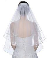 Nuovi eleganti veli da sposa corti 2 veli da sposa a 2 livelli con pettine 2 strato bianco avorio avorio velo velo in raso bordo in raso tulle di buona qualità