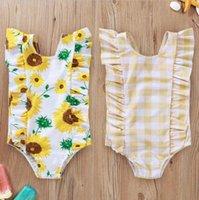 Neonate Girasole costume da bagno Bambini Plaid stampa floreale del bikini Un-Parti del bambino Fly manica Swimwear Summer Infant costume da bagno B879