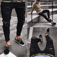 Pantalones negros para los hombres de Hip Hop agujeros jeans rotos motorista Slim Fit Jean cremallera en dificultades Pantalones