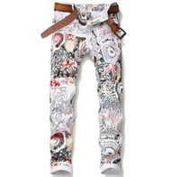 Mens Fashion Floral Painting Jeans Classic Plants Printed Ca...