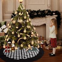 Noel Noel Baba Ağacı Etek Siyah ızgara çuval bezi Ağacı Etek yılbaşı ağacı süsleme Noel Noel Dekorasyon LXL496-A Malzemeleri