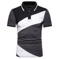 Çizgili Patchwork Kontrast Renk Erkek T Gömlek Yaka Casual Erkek Tişörtü Polo Bluz Erkek Giyim yazdır