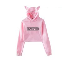 KPOP Blackpink Kawaii Crop Top Felpa con cappuccio K POP Black Pink Album Funny Cat Ear Cropped corta Felpa con cappuccio Pullover Top da donna