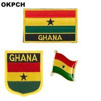 Ghana-Flaggenfleckenabzeichen 3pcs ein Satz bessert für Dekoration PT0084-3 der Kleidungs-DIY aus