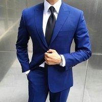 الرجال الدعاوى الحلل أحدث السراويل تصميم الرجال الأزرق الأعمال يتأهل العريس البدلات الرسمية 2PCS (سترة + سروال) زي أوم السترة terno masculin