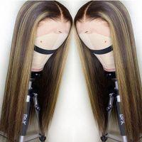 Spitze vorne menschliche Haare Perücken peruanisches jungfräuliches Haar Glueless Prepucked mit Babyhaar Ombre gerade Highlights Honig blonde Farbe Perücke