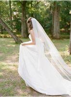 Yeni Düğün Peçe Kesim Kenar Gelin Peçe Tarak Ile Bir Katmanlı Fildişi 3 M Uzun Katedral Veils Velos De Novia Düğün Aksesuarları Düğün Veils