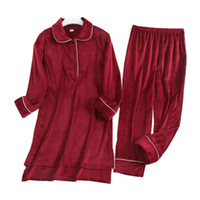 Winter-Stickerei-Frauen Nachtwäsche Indoor Soft Touch Lady Velvet Pyjamas Set Geburtstags-Geschenk für Frau Trendy Nachthemd