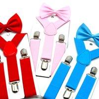 34 لون الحمالات الأطفال القوس + التعادل مجموعة بنين بنات الحمالات مطاطا y- الحمالات مع حزام القوس التعادل الأزياء أو الأطفال طفل أطفال من قبل دي إتش إل