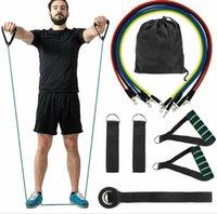 11 Stück Set-Widerstand-Bänder Gummi Fitness Brust Expander Yoga-Training Röhren Tür-Anker Ankle Straps Spannseil Innen Zug Ausrüstung