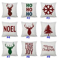 Copricuscino di Natale Cushion Covers Xmas Tree Fiocchi di neve Renna Alce Plaid Art Cushion Cover Divano Car Decor Lino Federa