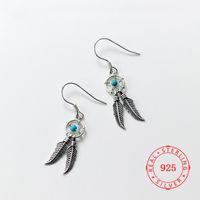 Marcasite 925 Prata Dangle Brincos Feminino Estilo Japonês Simples Retro Retro Oco Blue Beads Dreamcatcher Pena Borla China Importar Jóias