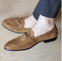 Cow Suede Loafers Flat heel Slip on Mens Driving Leisure Hor...