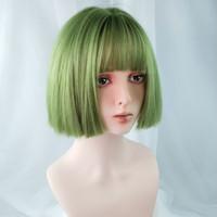 Cosplay sintético recto corto bob pelucas con flequillo de aire verde, rojo, amarillo, oro, colores grises para mujeres cosplay, fiesta, celebridad en línea