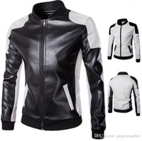 Reißverschluss Fly Outwear Mode Herren Motorradjacke Herren Designer Lederjacken Plus Größe Getäfelten Stehkragen