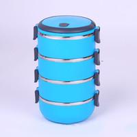 熱保存弁当箱の学生ベントボックスディナーボックス円形カラーブルーグリーン層単層ダブルデッキ3層新しい11 5SX K1