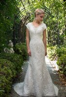 Vintage V Neck Lace Mermaid Modest Wedding Dresses Cap Sleeves Appliques Beaded Bridal Dress Sexy Bride Party Wear