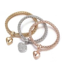 Pulseras del corazón 3pcs / set de joyería de aleación de mujeres pulseras del encanto del amor de cristal pulseras de los brazaletes del regalo del día de San Valentín LJJO7590