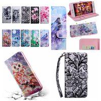 Para Carteira de couro LG W10 G8 thinq V50 K40 Stylo 5 K50 K60 3D Caso Flor Lobo cão Tiger Cat Owl Lace tampas de slot de Luxo magnético flip cartão