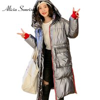 2019 Winter Glossy Down Cotton Long Parka Damen Wasserdichte Jacke Large Size Loose Winter Warm Dick Glänzend Silber Mäntel