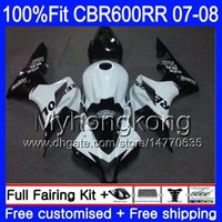 Комплект впрыска для HONDA CBR 600RR 600F5 CBR 600 RR F5 07 08 283HM.0 Repsol белый черный CBR600F5 CBR600RR 07 08 CBR600 RR 2007 2008 обтекатели
