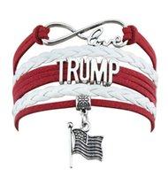 Trump Dokuma Bilezik 2020 Tut Amerika Büyük Yine Trump Bileklik ABD Banner Başkanı Bilezik Seçim Malzemeleri Mücevher GGA3616