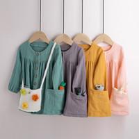 الاطفال ملابس الفتيات الصلبة اللباس الأطفال القطن الكتان الأميرة فساتين ربيع الخريف الأزياء بوتيك ملابس الطفل C1082
