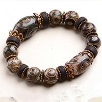 Braccialetti di perle Dzi a nove occhi Farmacista di prima linea Bracciale di perle Dzi Calcedonio naturale Giada Agata Maschio Occhi veri tibetani