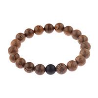 Oração Unisex Natural Wood Beads Cruz Pulseiras Natural vulcânica Pedra Meditação Bead Bracelet Mulheres Yoga Madeira Jóias Presentes Homme